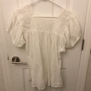 Vintage Embroidered Mexican Peasant Top Size M/L